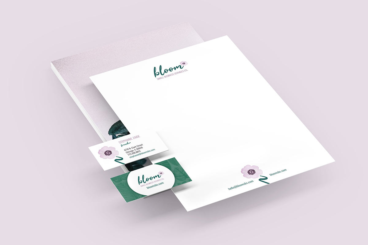 bloom small business services letterhead business cards