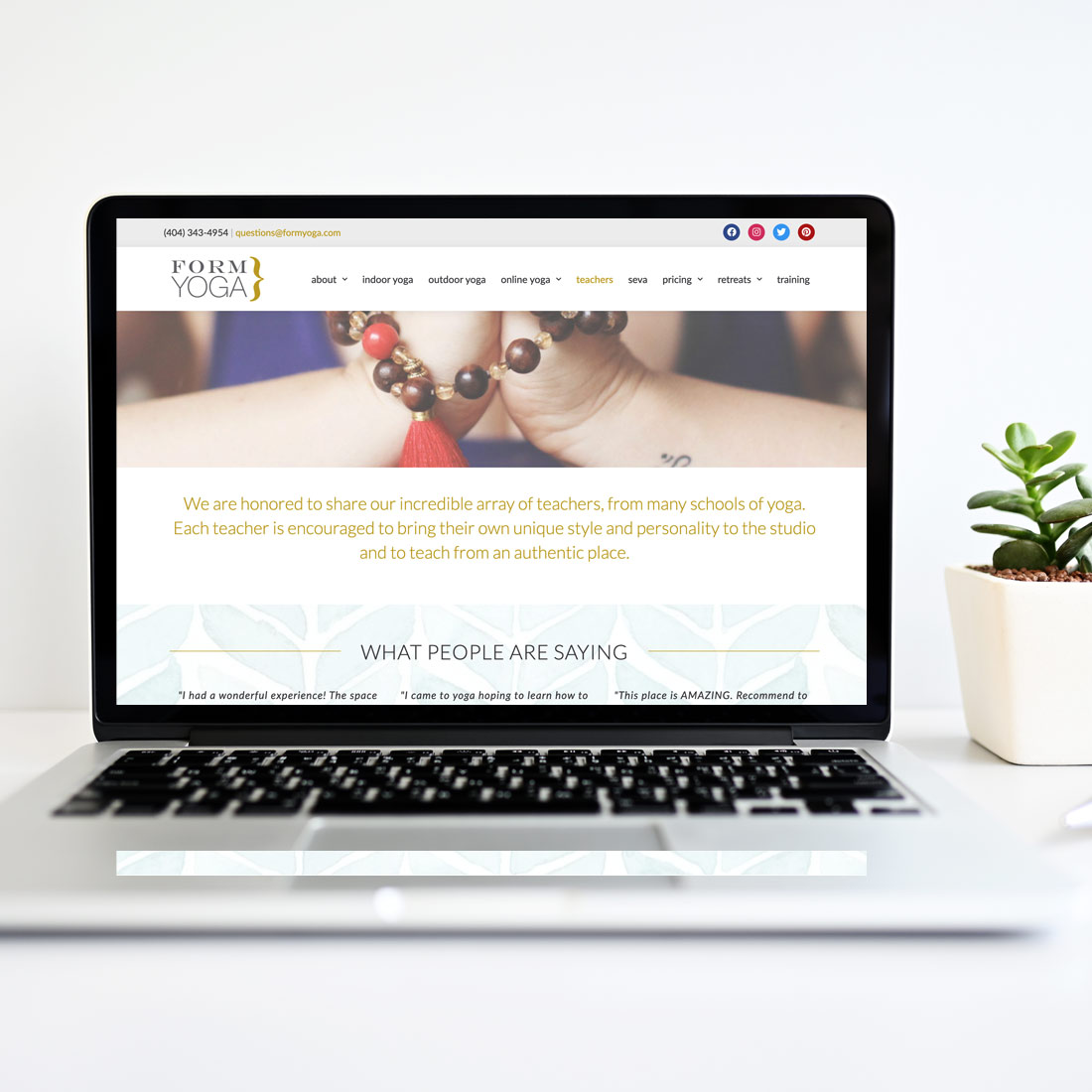 form yoga website design